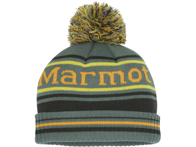 Marmot Retro Bonnet à pompon Garçon, crocodile/rosin green